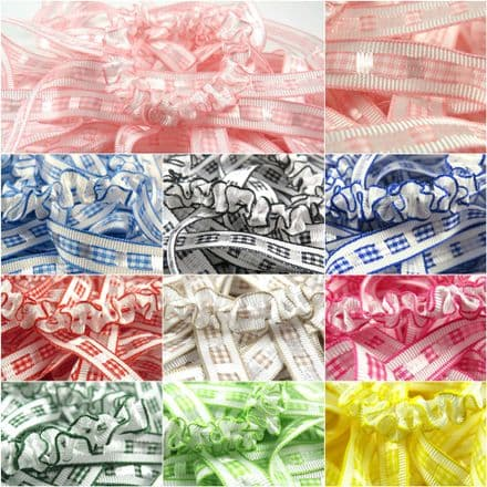 12mm Gingham Ruffle Ribbon - Berisfords - Per Metre