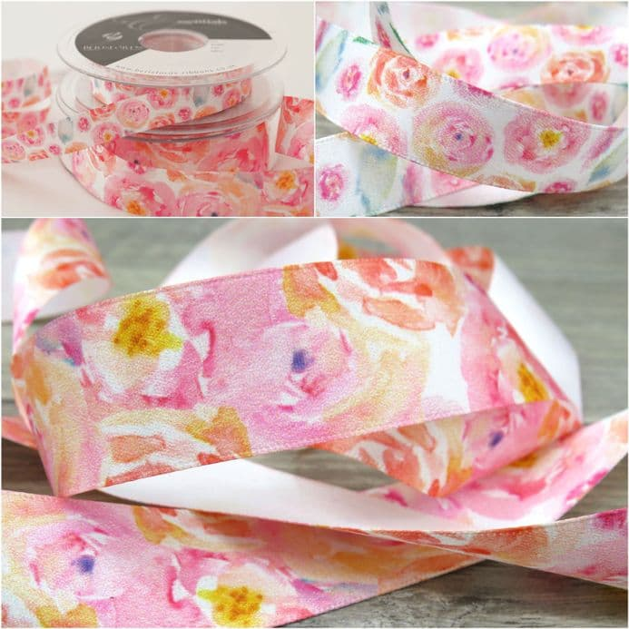 Berisfords 15mm & 25mm Posie, Floral mothers Day ribbon