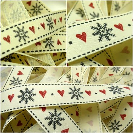 15mm & 25mm Snowflake & Heart Ribbon - Berisfords - Per Metre