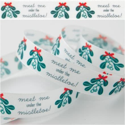 15mm Meet Me Under the Mistletoe - Berisfords Christmas Ribbon