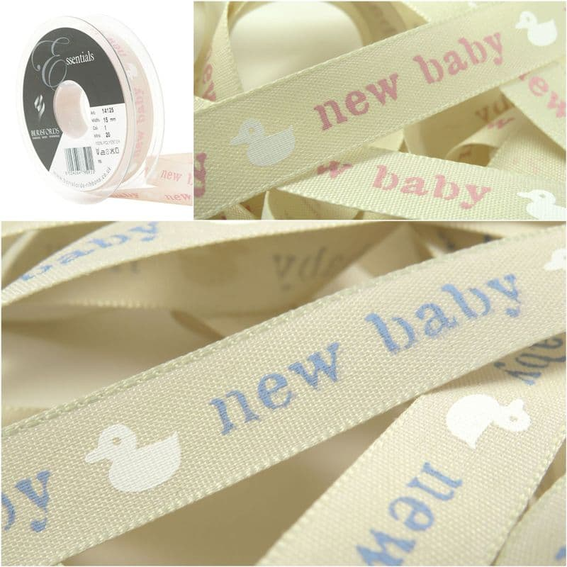 15mm New Baby with white Duck Print - Berisfords Ribbon - Per Metre