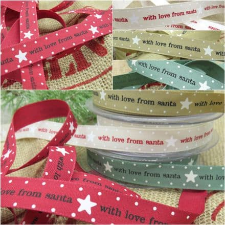 15mm With Love from Santa - Berisfords Christmas Ribbon - Per Metre