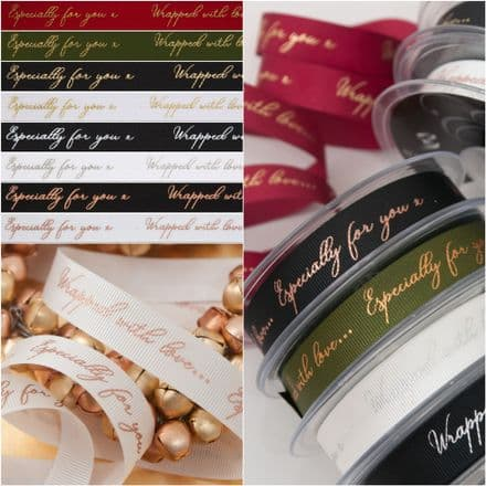 16mm Sparkle with Love - Berisfords Christmas Ribbon - Per Metre