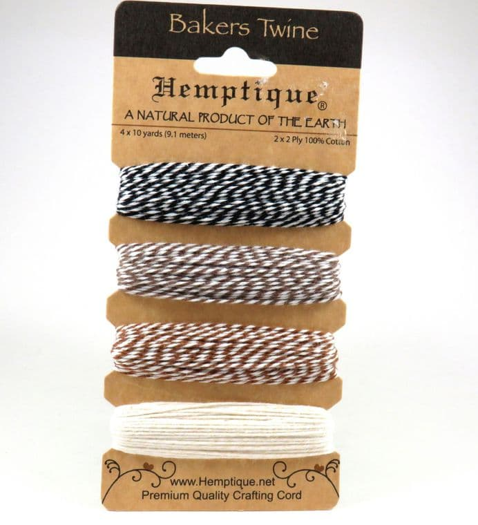 2 Ply 100% Cotton Bakers Twine - Cappuccino - Hemptique - 4 x 9.1m Card