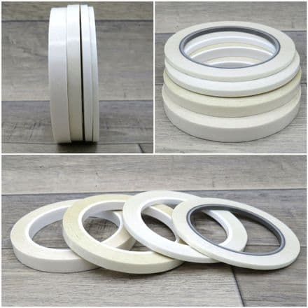 White Double Sided Adhesive Craft Tape - 4mm, 6mm, 9mm & 12mm Widths - Per 25 metre roll