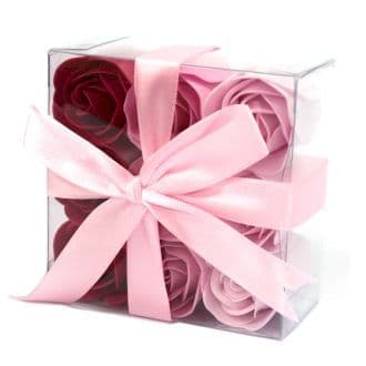 Set of 9 Soap Flowers - Pink  Roses