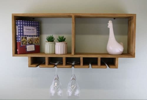 Shelving Unit With Storage For Wine Glasses