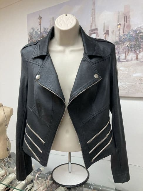 Faux Leather jacket With Zip Decoration