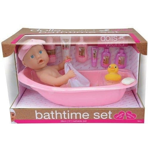 Dolls World Bathtime set with 38cm (15in) Bathable Doll & Accessories