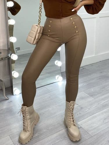 LOTTIE high waisted gold button leather look leggings - MOCHA