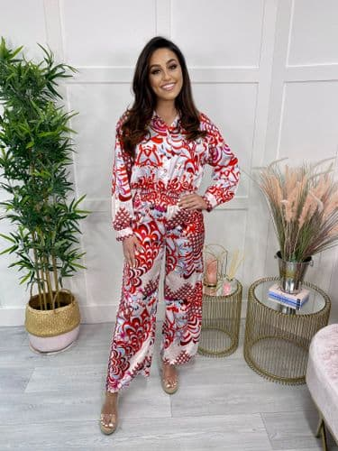 SAMMIE silky paisley print button front jumpsuit - RED