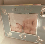 Baby boy blue & silver first picture frame