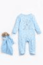 Baby boy born in 2021  sleep suit with teddy comforter personalised
