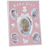 Baby girl pink -silver  picture frame 25 cm