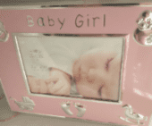Baby girl pink -silver  picture frame
