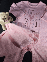 Born in 2021 personalised bodysuit & comforter toy 0-3 months.
