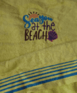 Embroidered see you at the beach velour towel
