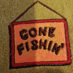 Embroidered yellow fishing towel hand towel