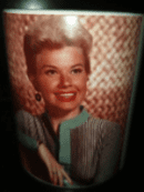 Iconic white ceramic doris day coffee/tea mug