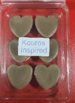 Kouros inspired scent oval/heart wax melt clamshells