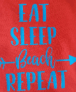 Mens red vest funny logo t-shirt eat-sleep-beach-repeat