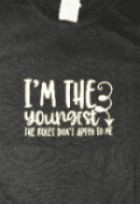 Personalised boys ( I'm the youngest t shirt white font