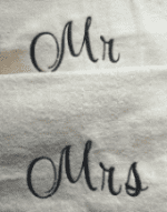 Personalised embroidered mr + mrs white bath sheet