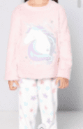 Personalised girls pink warm fleece unicorn Pyjamas