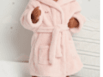Personalised pink or blue warm fleece baby dressing gown