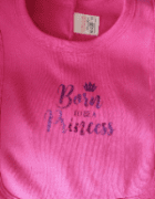 Pink born to be a princess  personalised baby bibs cotton