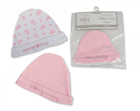 Pink mummy loves me baby hats personalised x 2