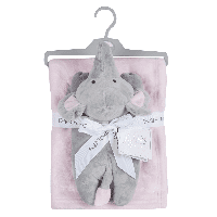 Plush blue or pink  baby blanket with elephant comforter