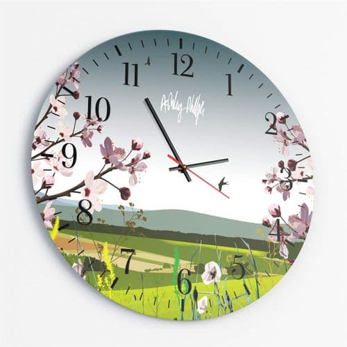 British Countryside Ultra Marine - Round Glass Clock
