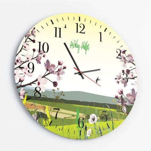 British Countryside Yellow - Round Glass Clock