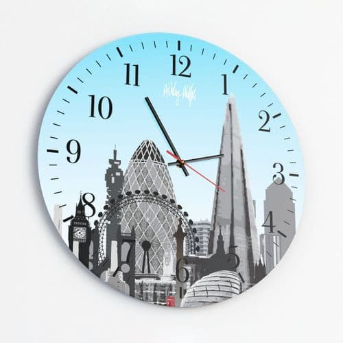 London Skyline Blue - Round Glass Clock