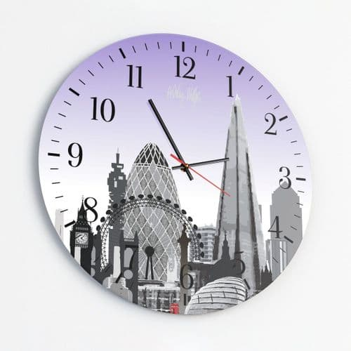 London Skyline Purple - Round Glass Clock