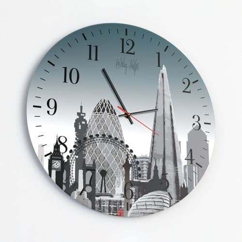 London Skyline Ultra Marine - Round Glass Clock