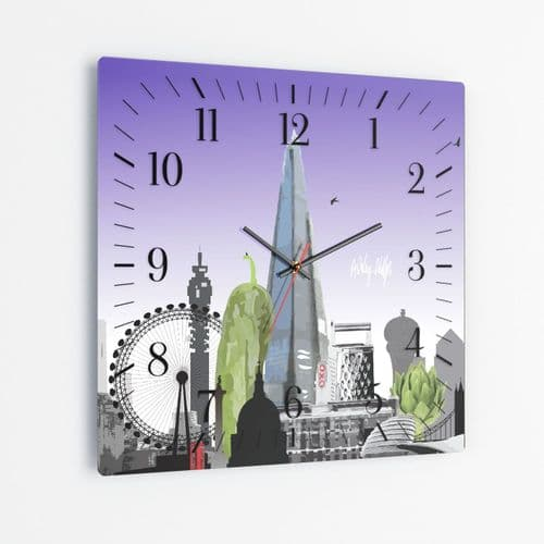 London Skyline With A Twist Purple - Square Glass Clock