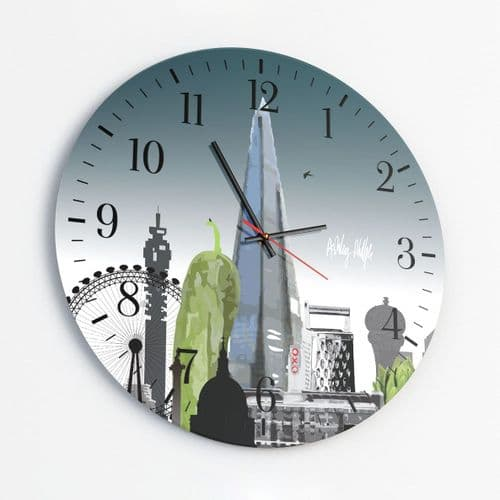 London Skyline With A Twist Ultra Marine - Round Glass Clock