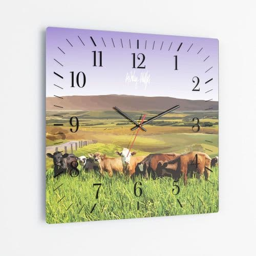 Rolling Hills With Cows Purple - Square Glass Clock
