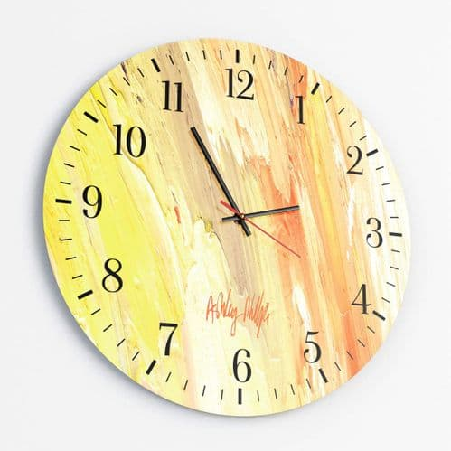 Surging Wave Yellow - Round Glass Clock