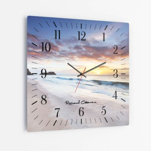 Tenby Dawn, Pembrokeshire, Wales - Square Glass Clock