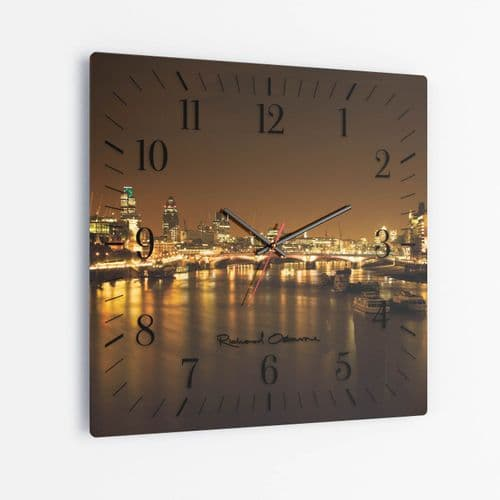 Thames Night - Square Glass Clock