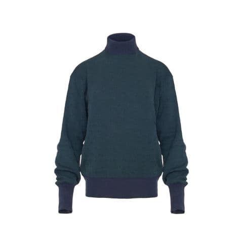 Starling Feathers Turtle Neck Jumper in Green and Blue Organic Cotton