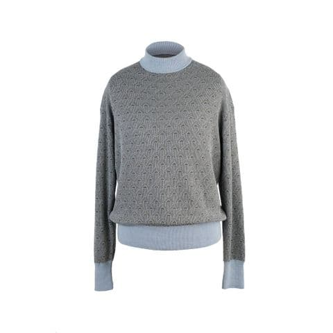 Starling Feathers Turtle Neck Jumper in Light Blue and Dark Green Organic Cotton