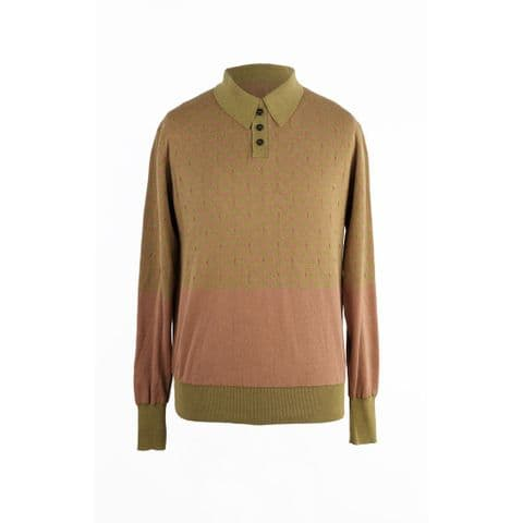Starling Polo Neck Jumper in Fawn and Pistachio Organic Cotton