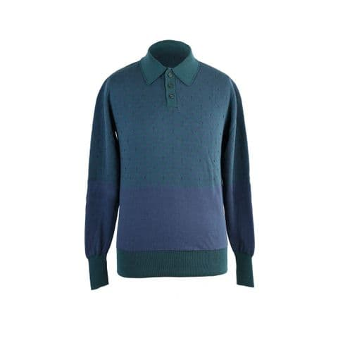 Starling Polo Neck Jumper in Green and Blue Organic Cotton