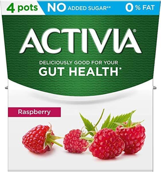 Activia 0% Fat Raspberry Yoghurt 4x120g