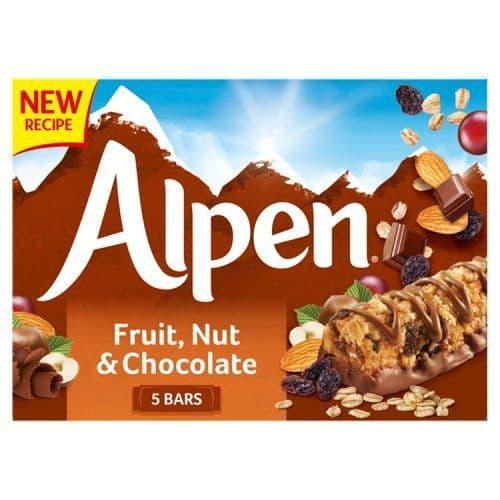 Alpen Fruit Nut & Chocolate Cereal Bar 5pk