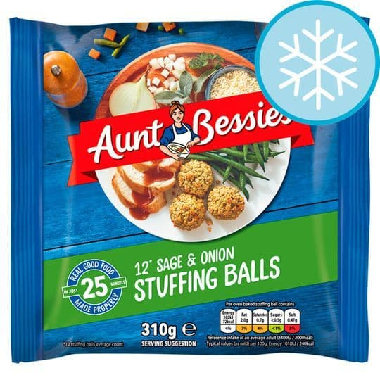 Aunt Bessies Sage & Onion Stuffing Balls 310g